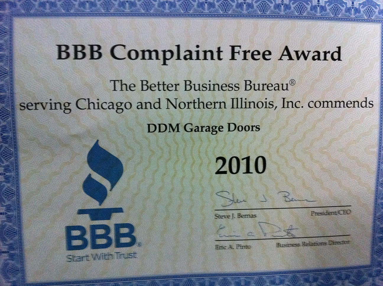 Ddm Garage Doors Wins Bbb 2010 Complaint Free Award Dan