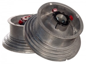 An image of a four-inch cable drum for a fifty-four-inch high lift used to solve common high lift door problems.
