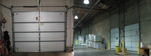 A view of standard and vertical lift garage doors.
