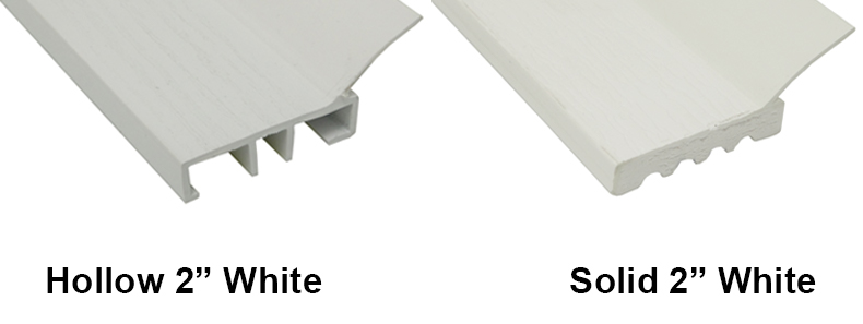 A comparison between a two-inch hollow white and two-inch solid white stop moldings.
