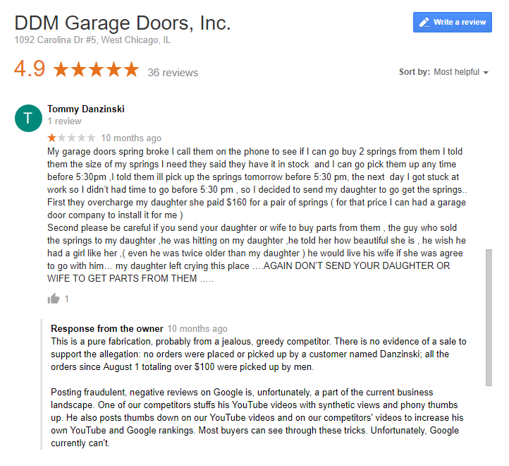 A Google Review for DDM Garage Doors posted by Tommy to discourage customers.