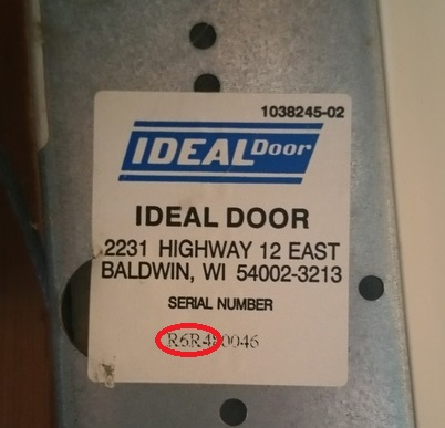 Many of the Ideal doors have long serial numbers just as Clopay has. Below you can see the model number RDP38 embedded in the serial number. & How to Identify Doors by Model Number Serial Number and PID ...