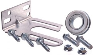 A Residential Garage Door Slotted Anchor Bracket with bolts and nuts.