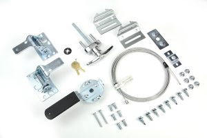Garage door lock assembly kit showing all the parts.