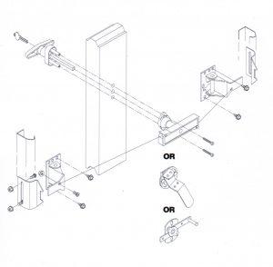 Diagram of a garage door lock assembly.