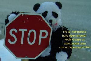 An image of a panda bear with a STOP sign with a warning message that the information has been pirated.