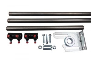 """A hollow 11 gauge shaft kit for a 16-foot wide garage door. Shows couplers, spring anchor bracket kit, two 1"""" OD shafts, and one center connecting shaft that is 16"""" long."""