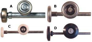 Four garage door rollers are shown, they include: Steel Truck Door Roller,  Steel Roller with Zinc Stem, Nylon Roller with Zinc Plated Stem, and Nylon Roller with Stainless Steel Stem.