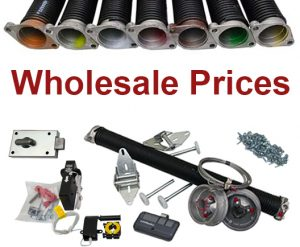 "A variety of garage door parts are shown with the caption ""Wholesale Prices."""