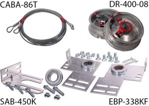 An image of garage door parts in clockwise order starting from top left: assembled 1/8 inch cable, 4-inch cable drums, 3 3/8 inch end bearing plates, and spring anchor bracket.