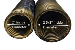 An image displaying the inside diameter of a 2 inch and 2 5/8 inch torsion springs.
