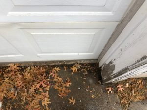 A view of a garage door with leaves by the bottom seal of the door.