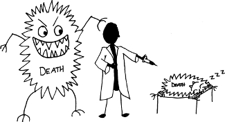 """An image of """"death"""" taking over a physician. New Year's Resolution."""