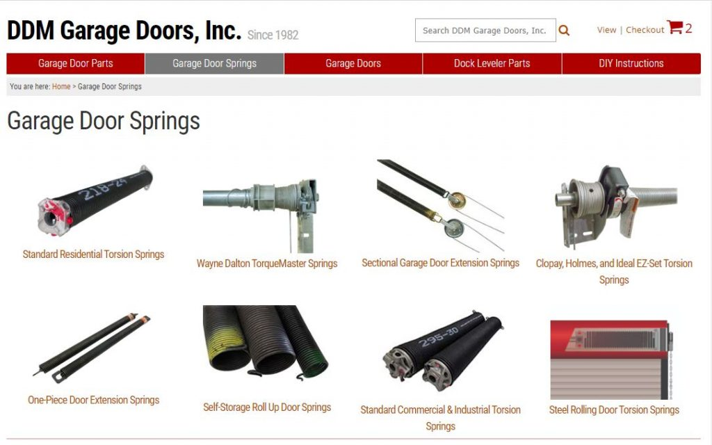 DDM Garage Doors, Inc web page exhibiting torsion springs from different manufactures