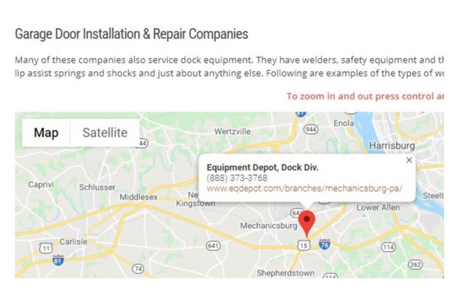 A map showing one of DDM Garage Doors recommended repair companies, Equipment Depot.