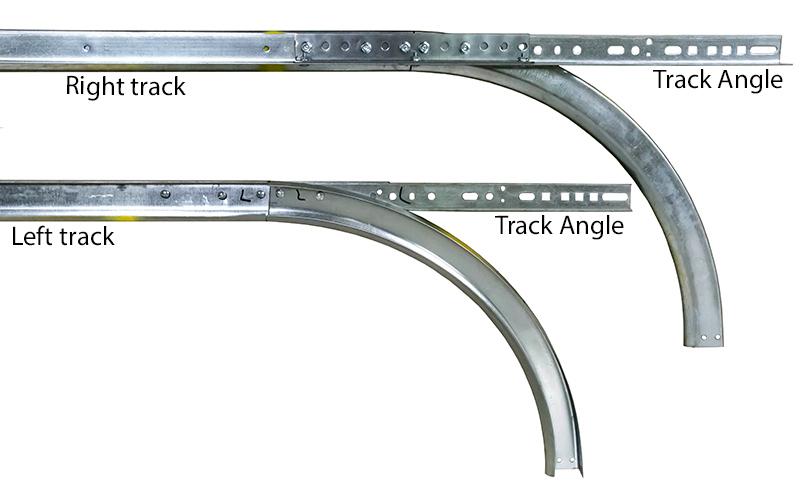 2 horizontal track w 15 radius 075 for 7 39 door pair for Garage door horizontal track