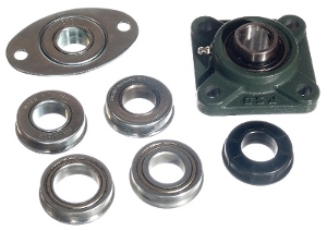 Garage door bearings and bearing plates