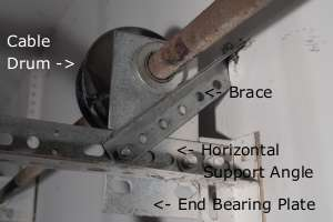 Braced garage door end bearing plate.