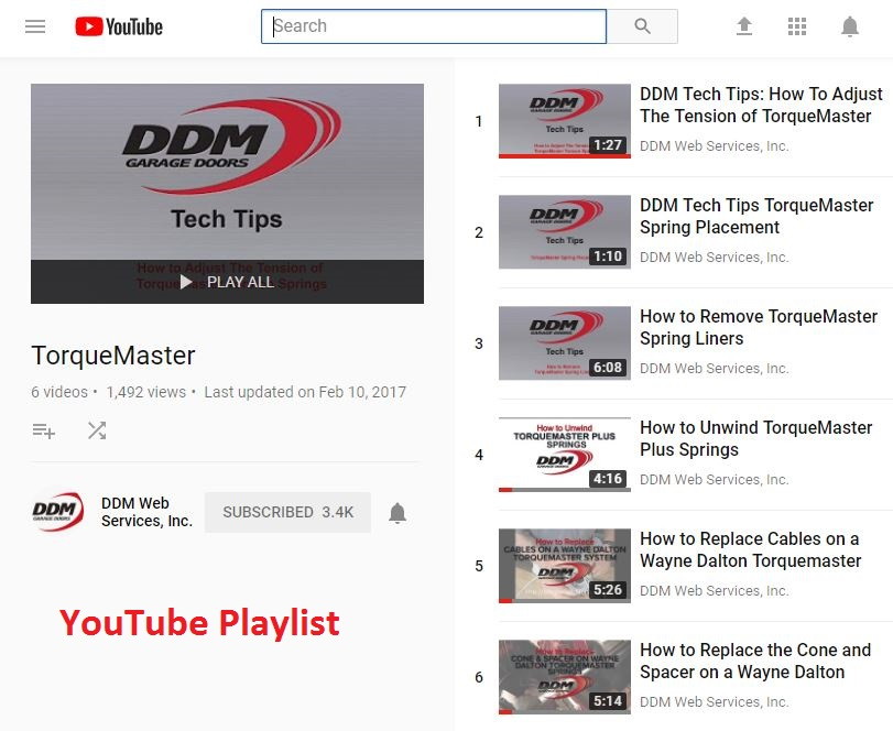 YouTube Play List for Wayne Dalton Torquemaster Springs and Hardware