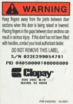 Serial number on the bottom of a Clopay door